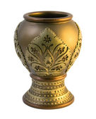 Beautiful golden clay vase — Stock Photo