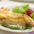 Home pie with salmon and cheese — Stock Photo