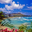 Waikiki beach and diamond head - Foto de Stock