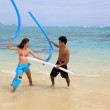 Couple playing on the beach — Stock Photo #2855981