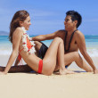 Couple at the beach in hawaii — Stock Photo