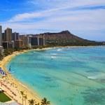 Waikiki Beach and Diamond Head Crater — Stock Photo
