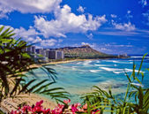 Praia de waikiki e diamond head — Foto Stock