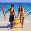 Young couple with a kayak — Stock Photo #2862541