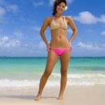 Beautiful Polynesian girl in a pink bik — Stock Photo #2866190