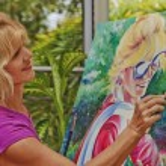 Artist painting a self portrait — Stock Photo
