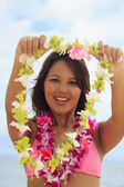 Beautiful Polynesian girl in bikini — Foto Stock