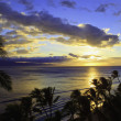 Pacific sunset at kaanapali beach — Stock Photo