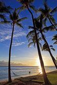 Pacifico tramonto sulla spiaggia di kaanapali — Foto Stock