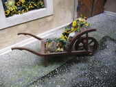 Decorated wheelbarrow — Stok fotoğraf