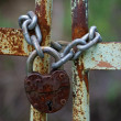 Old iron gates closed wiyh chain and  padlock - Stock Photo