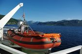 Lifeboat aboard the ferry — Stock Photo