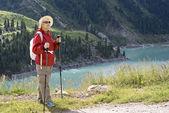 Old women in mountain — Stock Photo