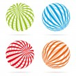 Various Striped globes — Stock Vector