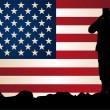 Солдат перед американским флагом — Cтоковый вектор