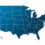 modré mapa usa — Stock vektor