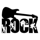 Rock word with guitar — Vector de stock