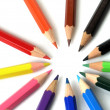 Foto Stock: Colored Pencils in Row