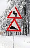 Traffic road sign in snow — Zdjęcie stockowe