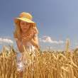 Girl in field - Stock Photo