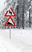 Karda yol işareti — Stok fotoğraf