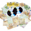 Compact Disks with euros — Stock Photo