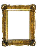 Old Gold Frame Isolated on white — Stock Photo