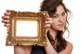 Woman holding an picture frame — Stock Photo