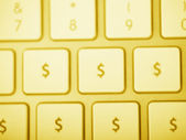 Gold Dollar Keyboard — Stock Photo