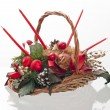 Christmas decorative basket — Stock Photo