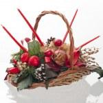 Christmas decorative basket — Stock Photo