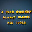 Stock Photo: Poor workmalways blames his tools