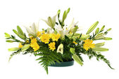 Yellow daisy and white flowers arrangement — Stock Photo