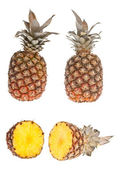 Whole and half pinapple — Stock Photo
