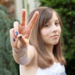 Peace Girl — Stock Photo