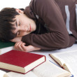 The sleeping student with the books — Stock Photo