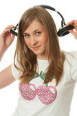 The young beautiful girl with headphones — Stock Photo