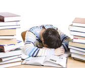 The sleeping student with books — Stock Photo