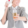 Girl in Santa hat and with champagne — Stock Photo