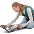 Student girl and laptop — Stock Photo