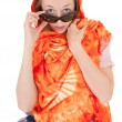 Young girl with orange shawl — Stock Photo