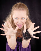 Portrait of aggressive girl — Stock Photo