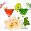 Rose and two glasses of cocktails — Stock Photo #2878675
