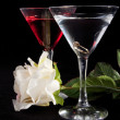 Rose and two glasses of cocktails — Stock Photo #2878815