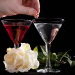 Stock Photo: Rose and two glasses of cocktails
