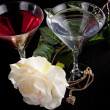 Rose and two glasses of cocktails — Stock Photo #2878847