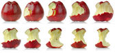 Sequence of eaten apple — Stock Photo