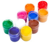 Jars with colored gouache — Stock Photo