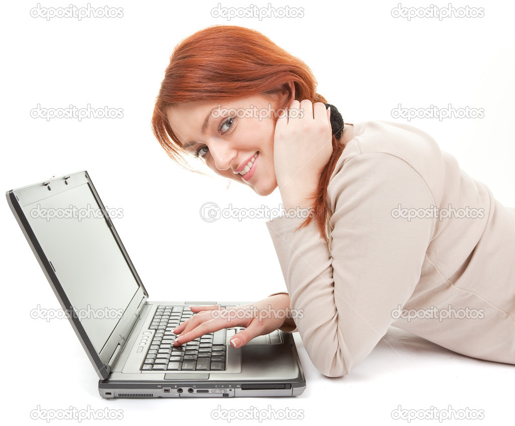 Portrait of positive careless girl with computer on white  Stock Photo #2873949