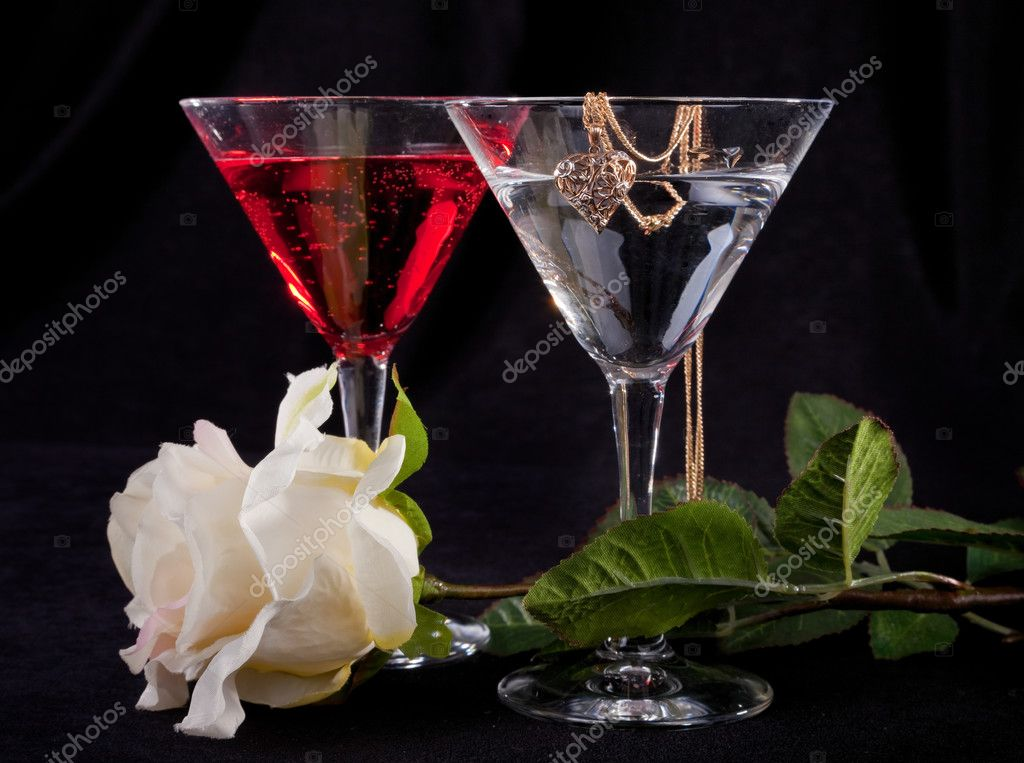 Rose and two glasses of cocktails on a white background  Stock Photo #2878712